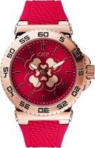 LOISIR dames horloge - bordeaux rood rubber - 44 mm - roségoud RVS - klavertje vier