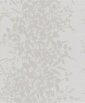 Nordic Elegance bladeren grijs behang (vliesbehang, grijs)