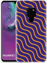 Huawei Mate 20 Hoesje blauw oranje lijnen