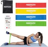 Panathletic 4 Weerstandsbanden Set - met Handleiding en eBook in het Nederlands - Mini power body band - Weerstandband fitness elastiek fitnessband