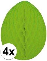 4x Decoratie paasei groen 10 cm - Paasversiering / Paasdecoratie