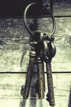 Four Keys - Blank Notebook with Fleur de Lis Corners
