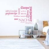 Muursticker Slaapkamer Teksten -  Roze -  120 x 76 cm  - Muursticker4Sale
