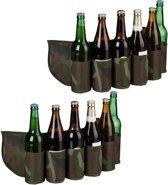 relaxdays 2 x bier gordel camouflage - drankgordel  voor blikjes of flesjes - bier riem