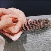 Voor iPhone 8 Plus & 7 Plus Cute pluche staart kat terug Cover beschermhoes met harige bal (roze)