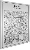 Stadskaart - Berlijn Aluminium wit 50x70 cm - Plattegrond