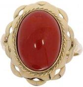 Verlinden Juwelier - Ring - Dames - geel gouden - 14 karaat - bloedkoraal - maat 17,25 - 2,5 gram