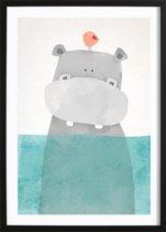 Nijlpaardje Poster (21x29,7cm) - Kinderen - Poster - Print - Kinderkamer - Wallified