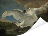 De bedreigde zwaan - Schilderij van Jan Asselijn Poster 160x120 cm - Foto print op Poster (wanddecoratie woonkamer / slaapkamer) XXL / Groot formaat!