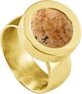 Quiges RVS Schroefsysteem Ring Goudkleurig Glans 20mm met Verwisselbare Zandsteen Beige 12mm Mini Munt