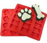 Duo Pack Siliconen Mallen - Honden snoepjes - Pootjes en Botjes - Honden koekjes - Muffins - Snoep -Krijt - Zeep