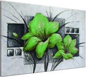 Schilderij handgeschilderd Bloemen | Groen , Grijs | 120x70cm 1Luik