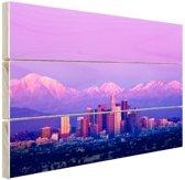 Los Angeles in het paarse avondlicht Hout 120x80 cm - Foto print op Hout (Wanddecoratie)
