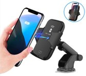 Draadloze auto oplader - Qi - Wireless Fast Charger - Dashboard Oplader - Apple & Android - Telefoonhouder