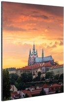 Zonsondergang in Praag Aluminium 40x60 cm - Foto print op Aluminium (metaal wanddecoratie)