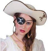 Witte piratenhoed met schedel