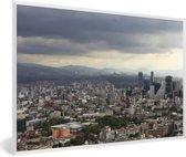Foto in lijst - Donkere wolken boven de miljoenenstad Mexico-stad fotolijst wit 60x40 cm - Poster in lijst (Wanddecoratie woonkamer / slaapkamer)