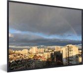 Foto in lijst - Regenboog boven de stad Sofia in Bulgarije fotolijst zwart 40x30 cm - Poster in lijst (Wanddecoratie woonkamer / slaapkamer)