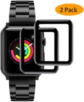 2 Pack Apple iWatch 38mm Screenprotector Glazen Gehard  Full Cover Volledig Beeld Tempered Glass