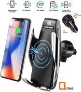 Luxe Universele Telefoon Houder | Draadloze QI Lader | Smart Sensor Automatische Armen| met gratis autolader 10watt