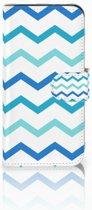 HTC One Mini 2 Uniek Boekhoesje Zigzag Blauw