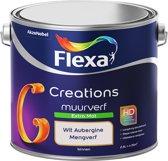 Flexa Creations Muurverf - Extra Mat - Mengkleuren Collectie - Wit Aubergine - 2,5 liter