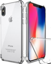 Apple iPhone X / 10  - SHOCKPROOF- Siliconen Transparant Hoesje Gel Soft TPU Case Backcover + Tempered Glass Screenprotector 2,5D 9H (Gehard Glas) - 360 graden protectie - Underdog Tech