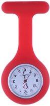 Treasure Trove® Siliconen Verpleegstershorloge Rood - Zusterhorloge - Horloge Verpleegster Dames - Speld - 35mm