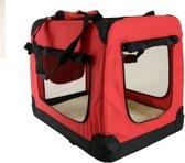 Auto Bench reisBench nylon Bench  - honden Bench XL Rood 81x58x58cm | stoffen bench | vouwbench | softbench - Honden 18-25kilo
