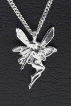 Zilveren Vrouw met vleugels ketting hanger