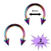 Fako Bijoux® - Circular Barbell Piercing - Hoefijzer Spike - 8mm - Multicolour - 2 Stuks