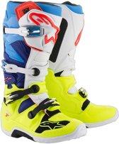 Alpinestars Crosslaarzen Tech 7 Fluor Yellow/White/Blue/Cyan-48 (EU)