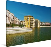 De haven in de Franse stad Montpellier Canvas 90x60 cm - Foto print op Canvas schilderij (Wanddecoratie woonkamer / slaapkamer) / Europese steden Canvas Schilderijen