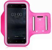 Sportband hoes hardloop sport armband Nokia 3 - Roze