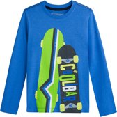 Coolibar - UV-shirt voor jongens - Blauw met opdruk skateboards - maat XS