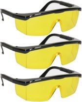 3x Vuurwerkbril met gele glazen voor nachtzicht voor volwassenen - antikras - beschermbrillen