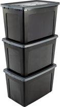 IRIS Modular Clear Box Opbergbox - 70 l - Kunststof - 3 stuks - Zwart/Grijs