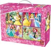 Disney 4 in 1 Puzzel Prinsessen - Vier Kinderpuzzels in een Koffertje - King