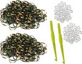 600 loom elastiekjes camouflage leger army kleur zwart-groen-beige met weefhaken en S-clips voor eindeloos speelplezier met deze loombandjes
