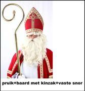 Sint Nicolaas haarstel pruik en baard met kinzak+vaste snor