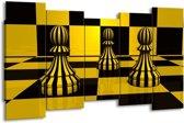 Canvas schilderij Spel | Geel, Zwart, Wit | 150x80cm 5Luik