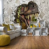 Fotobehang 3D Dinosaur Bursting Through Brick Wall | V4 - 254cm x 184cm | 130gr/m2 Vlies