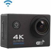 HAMTOD H9A HD 4K WiFi Sportcamera met onderwaterbehuizing, Generalplus 4247, 2,0 inch LCD-scherm, 120 graden groothoeklens (zwart)