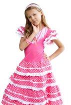 Spaanse jurk - Prinsessenjurk - Verkleed jurk - Roze/wit - maat 104/110 (6)