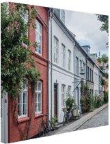 Straat Kopenhagen Canvas 120x80 cm - Foto print op Canvas schilderij (Wanddecoratie)