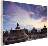 Borobudur bij zonsopkomst Hout 80x60 cm - Foto print op Hout (Wanddecoratie)