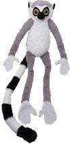 Pluche grijze maki/ringstaart aap knuffel 100 cm - Apen bosdieren knuffels - Speelgoed voor kinderen
