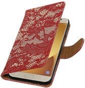 Samsung Galaxy J5 (2017) J530F Rood | Lace bookstyle / book case/ wallet case Hoes  | WN™