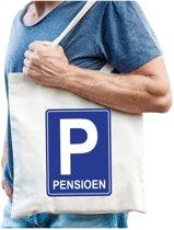 Pensioen katoenen cadeau tas beige voor heren - Pensioen / VUT kado shirt