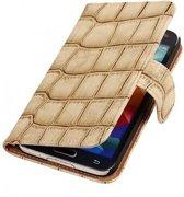Mobieletelefoonhoesje.nl - Samsung Galaxy S5 Hoesje Glans Krokodil Bookstyle Beige